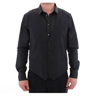 Dolce & Gabbana Dolce & Gabbana Gray Wool Mens Formal Dress Vest Gilet - it44-xs