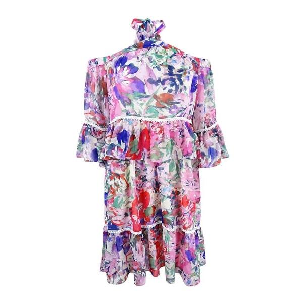 Rachel Roy Women's Printed Cold-Shoulder Dress - Pink