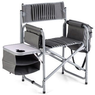 Costway Folding Compact Director's Chair Aluminum Cup Holder Side Table Cooler Bag