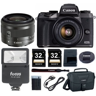 Canon EOS M5 DSLR Camera w/ 15-45mm f/3.5-6.3 IS STM Lens & 64GB Deluxe Bundle
