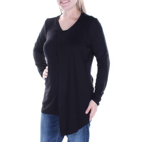 KUT Womens Black Ruffled Long Sleeve V Neck Top Size: M