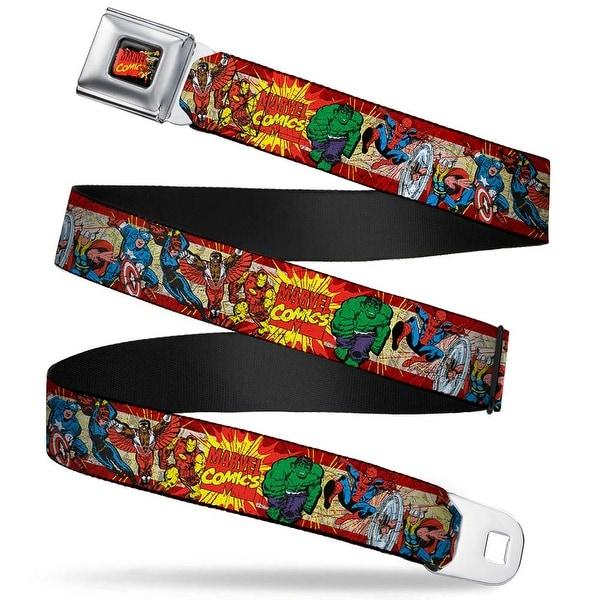 Marvel Comics Marvel Comics Characters Distressed Full Color Black Marvel Seatbelt Belt