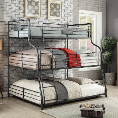 Furniture of America Syd Industrial Black Triple Decker Bunk Bed
