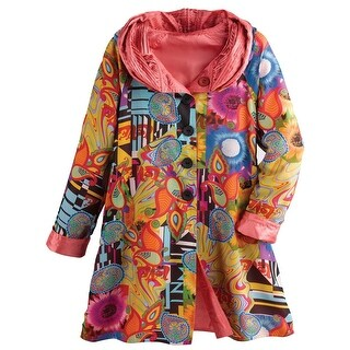 Women's Reversible Print-To-Solid Rain Jacket - Button Front (4 options available)