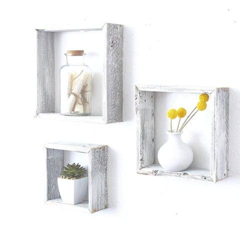 "Set of 3 Square Rustic White Wash Wood Open Box Shelve - 12"" X 12"""
