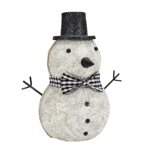 """9.25"""" Black and White Glitter Snowman with Top Hat and Bow Tie Christmas Table Top Figure"""