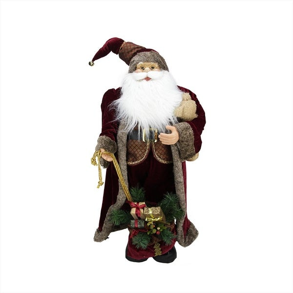 "32"" Noble Standing Santa Claus in Burgundy Robe Christmas Figure with Teddy Bear and Gift Bag - RED"