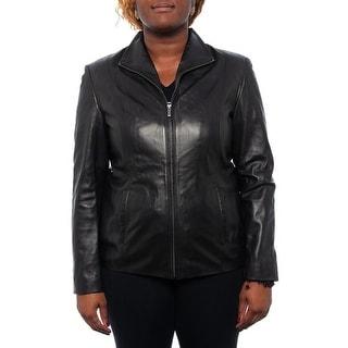 Cole Haan  Collared Zipper Genuine Leather Jacket Basic Jacket BLK