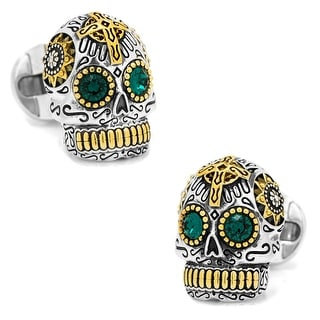 Silver and Gold Day Of The Dead Skull Cufflinks