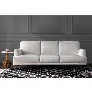 "Link to Strick & Bolton Mercado White Leather Sofa - 89""Wx37""Dx34.5""H Similar Items in Sofas & Couches"
