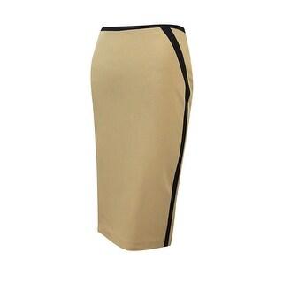 Nine West Women's Colorblock Vent Back Pencil Skirt - latter/black