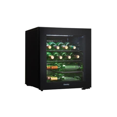 "Danby DWC018A1 18"" Wide 16 Bottle Capacity Free Standing Wine Cooler with LED Showcase Lighting - - Black"