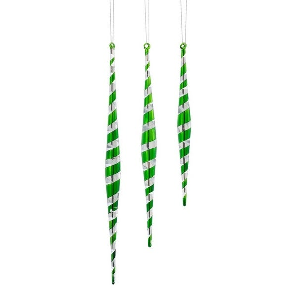 "Swirl Icicle Ornaments (Set of 3) 7.5""H-11.5""H Glass - green"