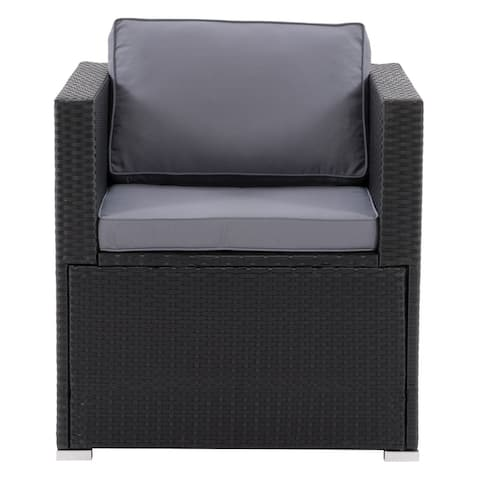 CorLiving Parksville Patio Sectional Armchair, Black/Grey