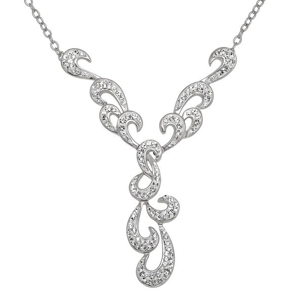 Crystaluxe Open Scroll Drop Necklace with Swarovski Crystals in Sterling Silver - White