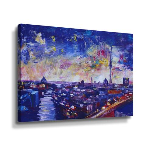 Berlin Impressive Skyline At Night With Stars Gallery Wrapped Canvas