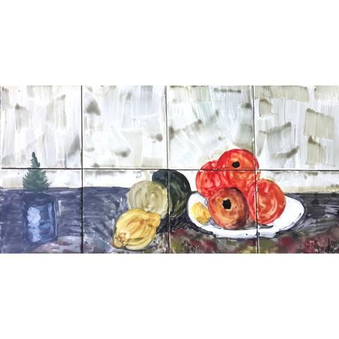 24in x 12in Kitchen Backsplash 8pc Mosaic Tile Ceramic Wall Mural