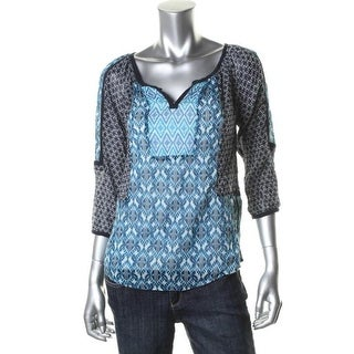 Lucky Brand Womens Juniors Pullover Top Cotton Printed - M