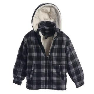 Gioberti Boys Charcoal Plaid Sherpa Lined Detachable Hood Flannel Jacket