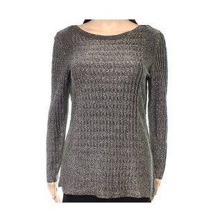 Nic + Zoe NEW Gold Womens Size XS Ribbed Metallic Pullover Sweater