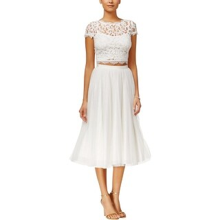 Adrianna Papell Womens Crop Top Lace Overlay Cap Sleeves