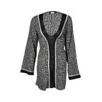 La Blanca Women's Crochet Trim Printed Tunic Swim Cover - Black