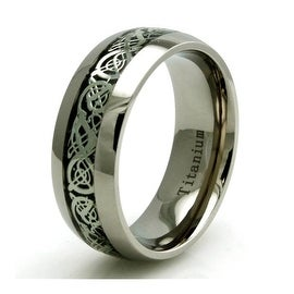 Titanium Dragon Inlay Design Dome Ring