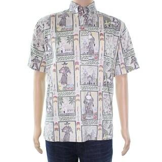Reyn Spooner NEW Beige Printed Mens Size Medium M Button Down Cotton