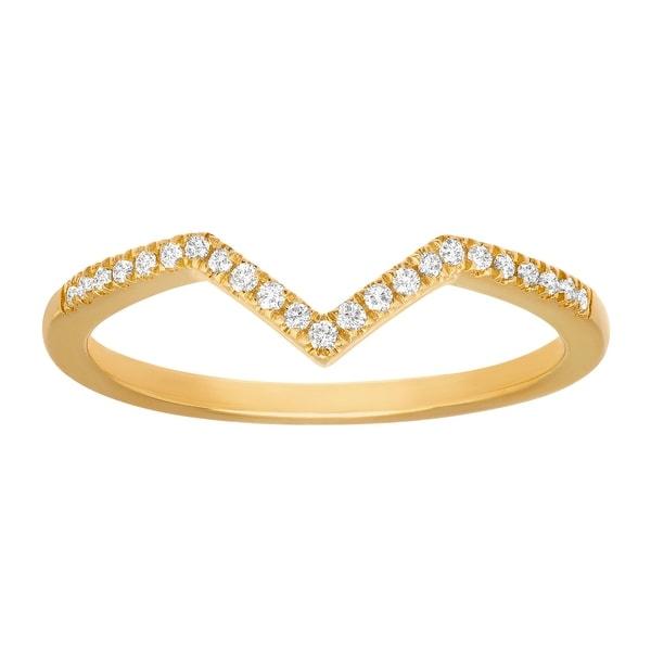 1/10 ct Diamond Chevron Ring in 10K Yellow Gold