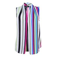 Nine West Women's Plus Size Striped Pleated Shell Top (1X, Candy Multi) - Candy Multi - 1X