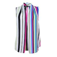 Nine West Women's Striped Pleated Shell Top - candy multi