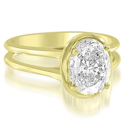1.00 cttw. 14K Yellow Gold Split Shank Halo Oval Cut Diamond Engagement Ring