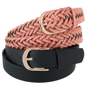 CTM® Women's Braided and Smooth Belts (Pack of Two) - One size