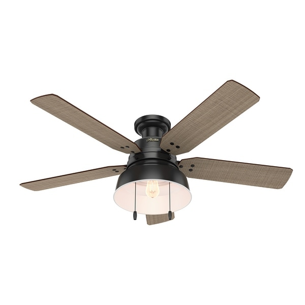 "Hunter 52"" Mill Valley Outdoor Low Profile Ceiling Fan with LED Light Kit and Pull Chain, Damp Rated. Opens flyout."