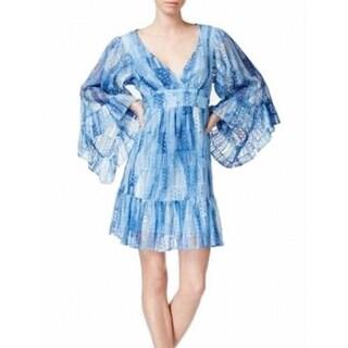 Betsey Johnson NEW Blue Womens Size 8 Surplice Empire Waist Lace Dress