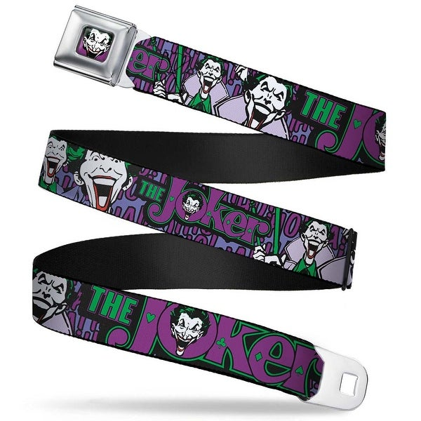 Joker Face Full Color Joker Face Logo Spades Black Green Purple Webbing Seatbelt Belt
