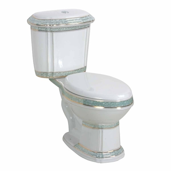 Dual Flush Elongated Two-Piece Toilet White And Green Porcelain