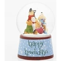 "Set of 2 Musical Christmas 'Happy Howlidays' Glitter Dome 5.5"" - BLue"