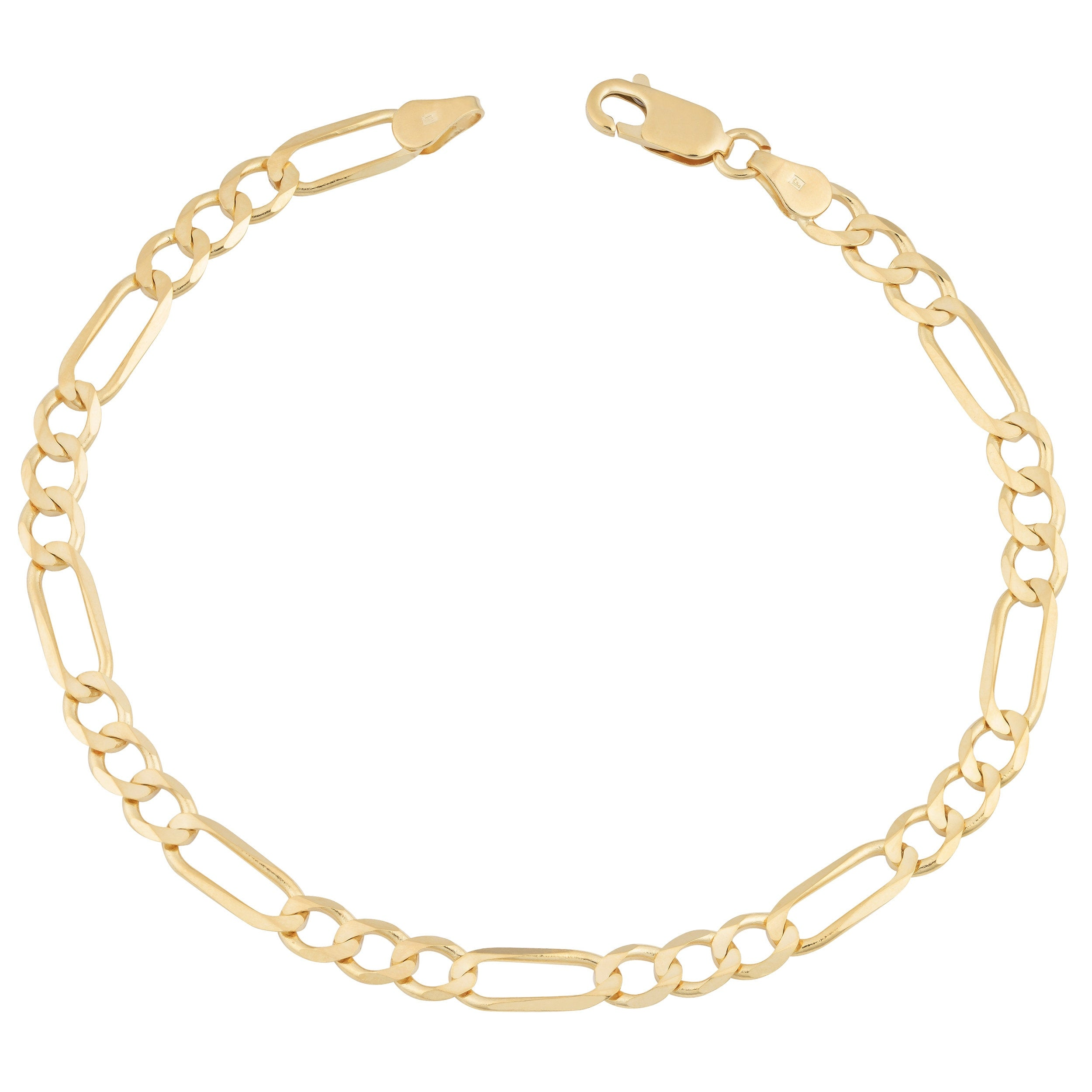 Mcs Jewelry Inc 21 KARAT YELLOW GOLD CLASSIC SOLID FIGARO CHAIN BRACELET  21 21 INCHES