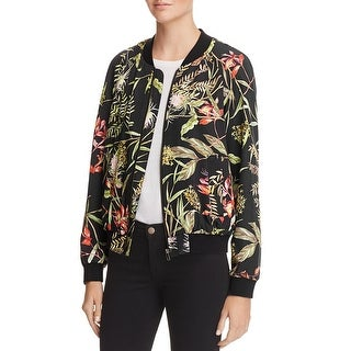 French Connection Womens Bomber Jacket Floral Print Ribbed - 0