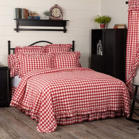 Annie Buffalo Check Ruffled Quilted Coverlet