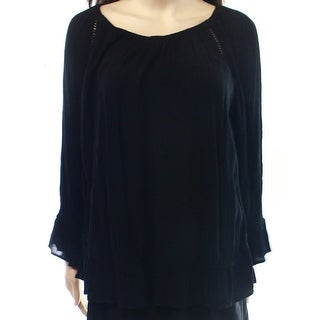 INC NEW Deep Black Solid Women's Size 12 Teaxtured Peasant Blouse