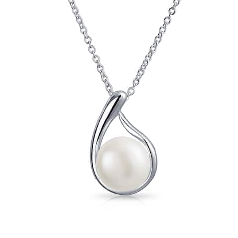 Freshwater Cultured Pearl Teardrop Pendant Sterling Silver Necklace