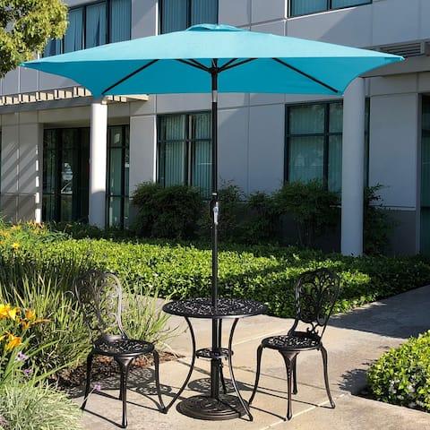 6.5 Square Patio Umbrella Outdoor Table Umbrella with Tilt and 4 Sturdy Ribs , Aqua Color