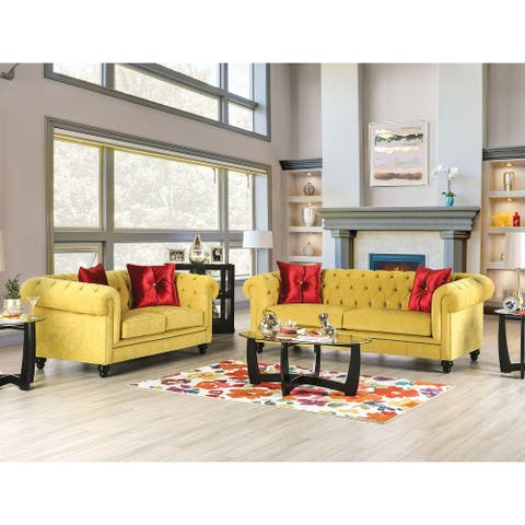 Furniture of America Ryn Transitional Yellow 2-piece Living Room Set