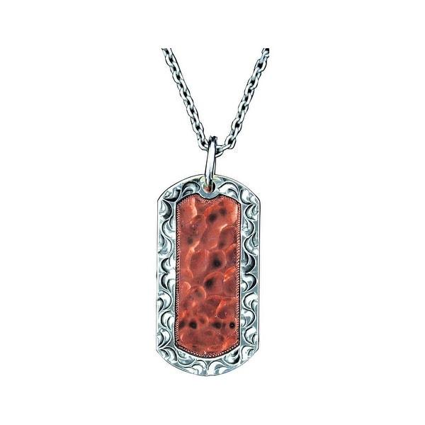 Bar V Western Women Necklace Hammered Dog Tag Engraved Silver 316-220