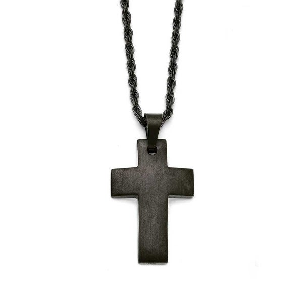 Chisel Stainless Steel Black IP-plated Brushed Cross Necklace (2.5 mm) - 20 in