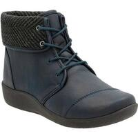 Clarks Women's Sillian Frey Ankle Boot Navy Synthetic Nubuck