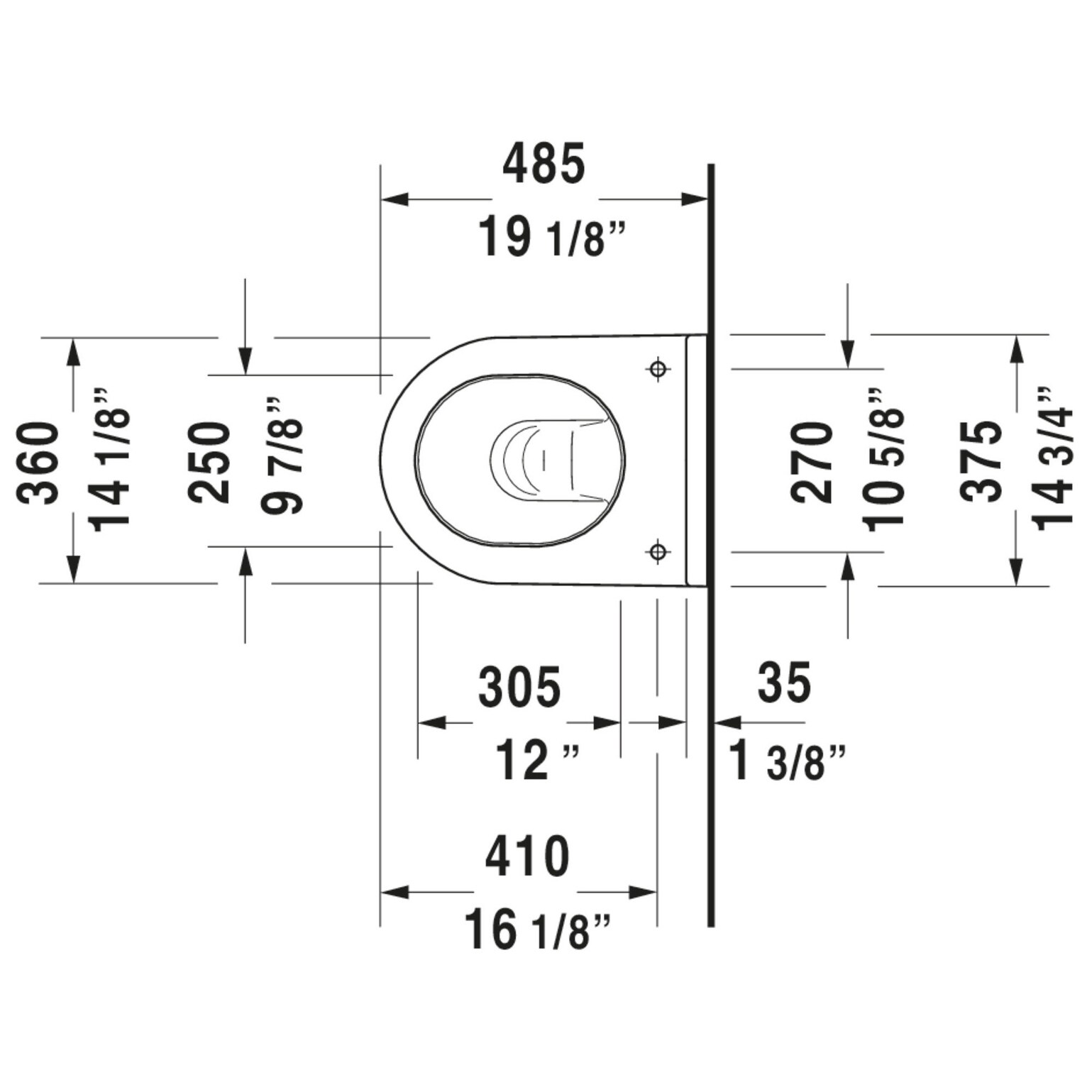 Duravit 222709 Dual Starck 3 0 8 1 6 Gpf Dual Flush Wall Mounted One Overstock 31866338 White