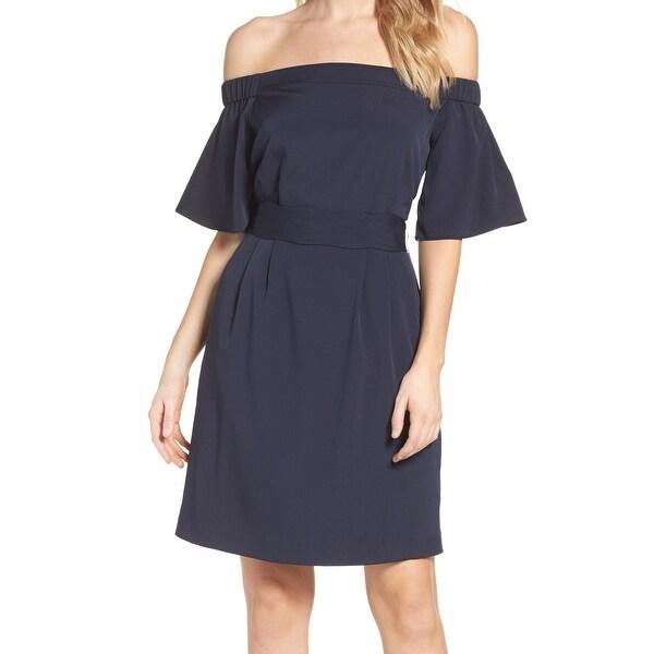 Eliza J Navy Blue Womens Size 8 Off Shoulder Pocket Sheath Dress